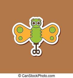 papillon, jouet, autocollant, papier, gosses, fond, élégant