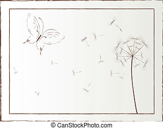 papillon, kunst, lã¶wenzahn, abbildung, gerahmt, vektor