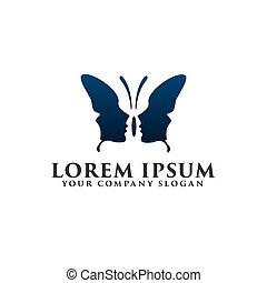 papillon, logo, concept, conception, gabarit