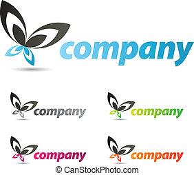 papillon, logo, conception