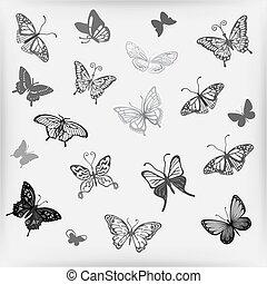 papillon, logo, satz