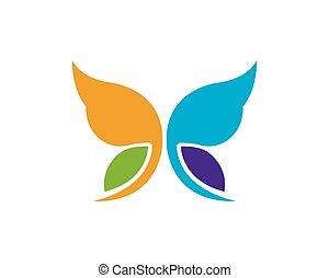 papillon, logo, vecteur, conception, gabarit