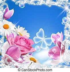 papillon, magnolia, transparent, rose, pâquerette