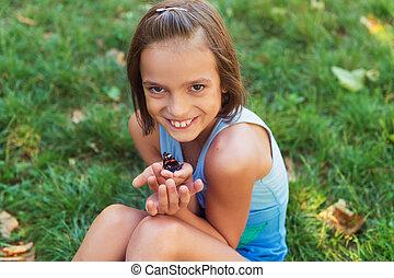 papillon, mignon, été, parc, jour, dehors, girl, jouer, gentil