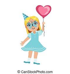papillon, mignon, balloon, girl, gosses, masque, anniversaire, ensemble, caractères, attributes, fête, partie, dessin animé, célébration
