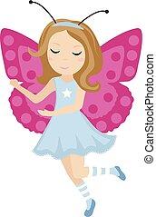 papillon, mignon, illustration., plat, arrière-plan., isolé, dessin animé, costume., carnaval, vecteur, dorlotez fille, blanc, style., icône