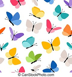 papillon, mignon, seamless, modèle