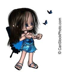 papillon, mignon, toon, bleu, -, fée