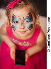 papillon, mobile, girl, téléphone