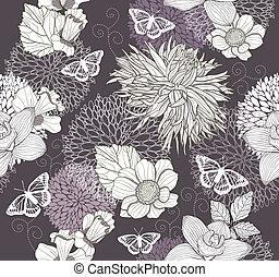 papillon, modèle, fleur, seamless