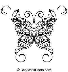 papillon, monochrome, vecteur, tatouage