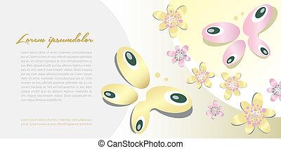 papillon, motif, fond