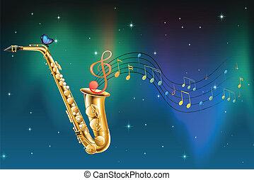 papillon, notes, saxophone, musical