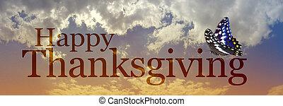 papillon, nuages, bannière, thanksgiving, heureux