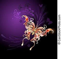 papillon, or, arrière-plan violet