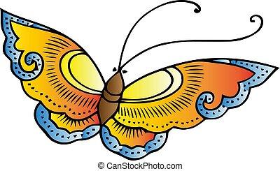 papillon, orange, motion., illustration., vektor