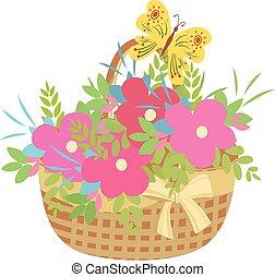 papillon, panier, fleurs