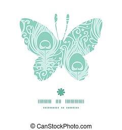 papillon, paon, silhouette, modèle, cadre, plumes, vecteur, doux