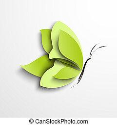 papillon, papier, vert