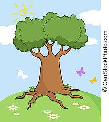 papillon, paysage arbre