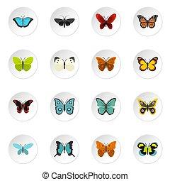 papillon, plat, ensemble, icônes
