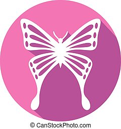 papillon, plat, icône