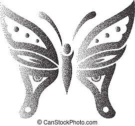 papillon, pointillez, effet