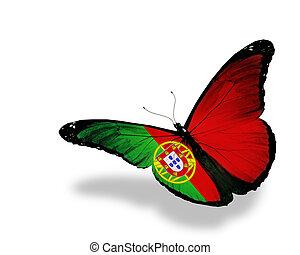papillon, portugais, voler, isolé, drapeau, fond, blanc