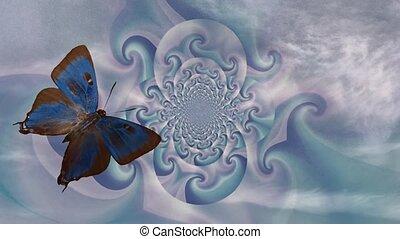 papillon, résumé, fractal, espace