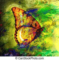 papillon, résumé, mélangé, couleur, voyante, illustration, ...