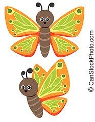 papillon, rigolote, mignon, character., illustration, wings., insecte, petit, beau