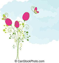 papillon, rose, abstrakt, rotes