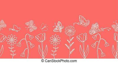 papillon, rose, arrière-plan., silhouettes, délicat, blanc, frontière, design.