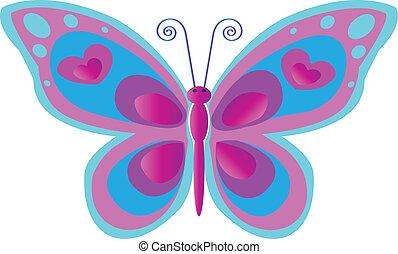 papillon, rose