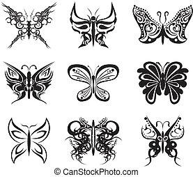 papillon, satz, tatto, satz, stickers2