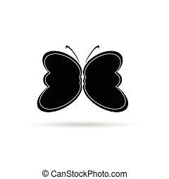papillon, silhouette, illustration, vecteur, noir, blanc