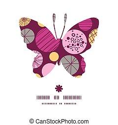 papillon, silhouette, modèle, résumé, vecteur, textured, bulles, cadre
