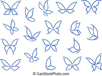 papillon, silhouettes, ensemble