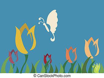 papillon, tulipe, fleur, choisir