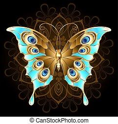 papillon, turquoise, doré
