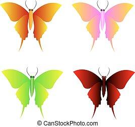 papillon, vecteur, collection, icônes