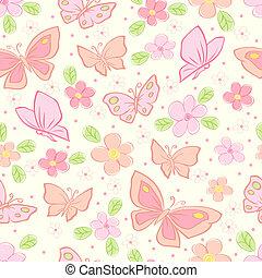 papillon, vecteur, seamless, fond