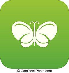 papillon, vecteur, vert, icône