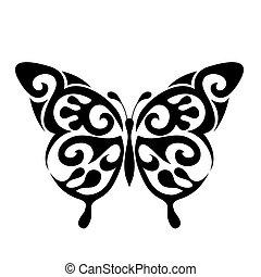 papillon, vektor, ikone