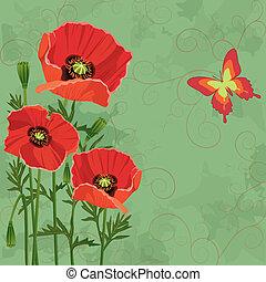 papillon, vendange, floral, fond, coquelicots