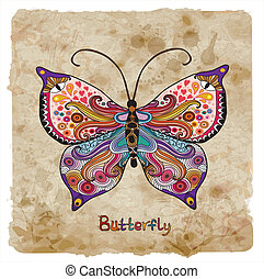 papillon, vendange, retro, fond