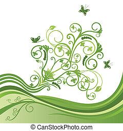 papillon, vert, fleur, frontière