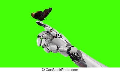 papillon, vert, robot, fond, main