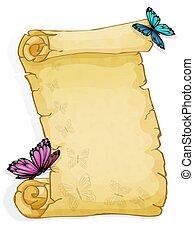 papillon, weißes, freigestellt, hintergrund, pergament