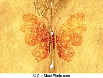 papillon, weinlese, papier, altes , seite